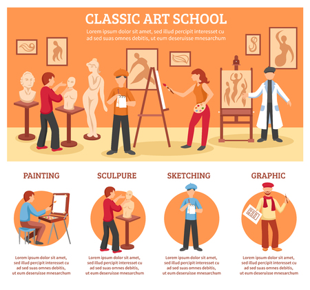 classic art: Classic art infographic set with painting and sculpture flat vector illustration