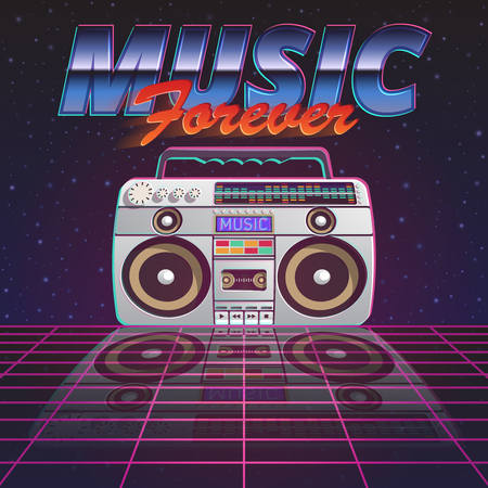 tape recorder: Music forever poster with retro tape recorder on glassy floor on starry sky background flat vector illustration