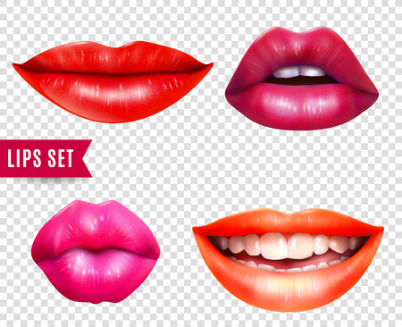 Lips realistic transparent set with bright lipstick isolated vector illustration Ilustração
