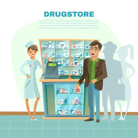 pharmacy store: Drugstore with pharmacist in uniform customer and medical bottles cartoon vector illustration