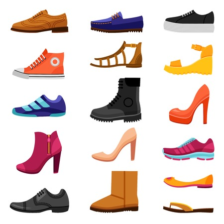 wellingtons: Footwear flat colored icons set of male and female shoes boots sandals for different seasons isolated vector illustration