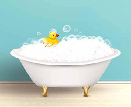 bubble bath: Bathtub cast a shadow on bathroom poster with foam and yellow rubber duck colored vector illustration
