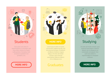 thesis: College university isometric vertical banners with students graduates and students in library on colorful backgrounds isolated vector illustration