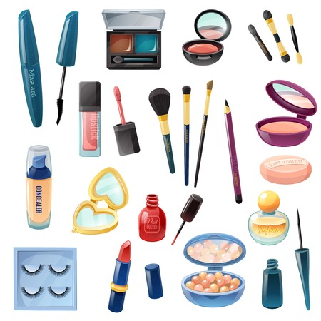 lip: Ladies beauty case cosmetics make-up accessories realistic set with nail polish lipstick and mascara isolated vector illustration Illustration