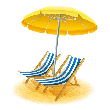 deck chair: Beach summer resort with deck chairs and umbrella cartoon vector illustration