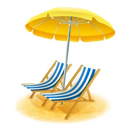 station d'été Plage avec chaises longues et dessin animé parapluie illustration vectorielle