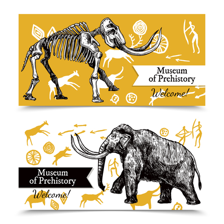 prehistory: Horizontal welcome to museum of prehistory banners with sketch hand drawn mammoth and its skeleton on background with rock paintings isolated vector illustration