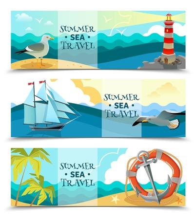 uninhabited: Nautical horizontal banners set of sea background with sailboat life ring palm trees on uninhabited island design elements flat vector illustration