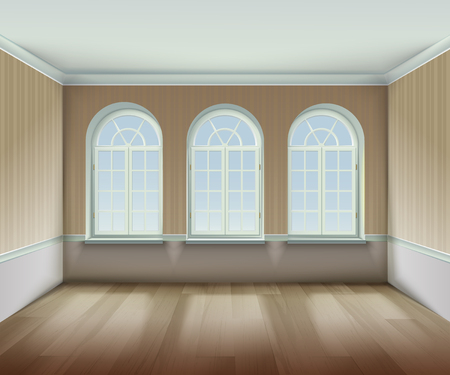 arched: Room With  Arched Windows Background. Interior With Arched Windows Vector Illustration. Arched Windows Design. Room Interior Realistic  Decorative Illustration. Illustration