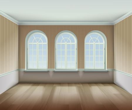Room With  Arched Windows Background. Interior With Arched Windows Vector Illustration. Arched Windows Design. Room Interior Realistic  Decorative Illustration. Illustration
