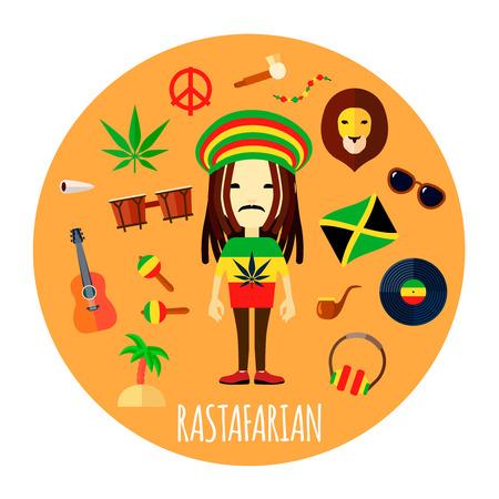 Miembros de la creencia Rastafari y el modo de vida de los accesorios de carácter plano y redondo fondo amarillo resumen de la ilustración del vector