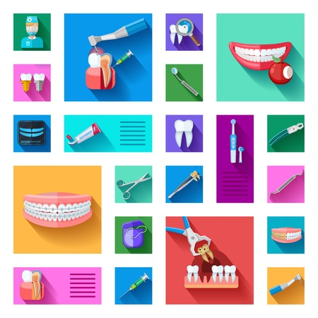 tooth cleaning: Different colorful dentist icons set with teeth examination treatment and equipment for care and treatment on white background flat isolated vector illustration Illustration
