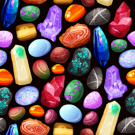 geological: Seamless pattern with shiny crystals stones and rocks of various shape size and color on black background cartoon vector illustration