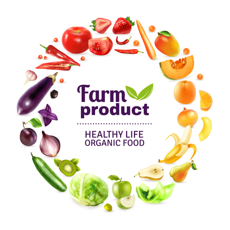 Organic food typographic poster with round rainbow decorative frame composed of whole and chopped fruits and vegetables vector illustration Vectores