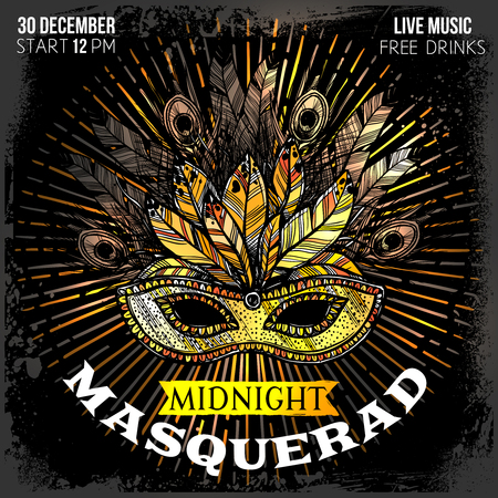 midnight time: Midnight masquerade party poster with time place and big beautiful mask with feathers and decorations hand drawn vector illustration