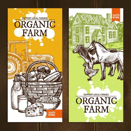 dairy products: Support local farmers organic farm vertical banners with farm animals tractor dairy products and vegetables on wooden background sketch hand drawn isolated vector illustration