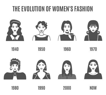 fashion set: Women Fashion Black White Icons Set. Fashion Evolution Vector Illustration. Fashion Evolution Decorative Set.  Fashion Evolution Avatar Design Set. Fashion Evolution Flat Isolated Set. Illustration