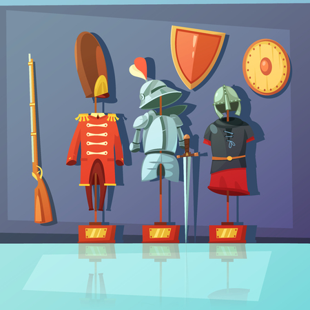 military uniform: Color cartoon illustration depicting museum exhibit about armor and historic military uniform vector illustration Illustration