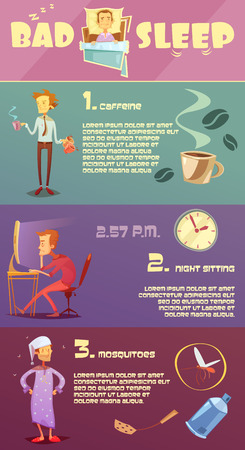 mosquitoes: Color infographic depicting reason bad sleep caffeine night sitting mosquitoes vector illustration Illustration