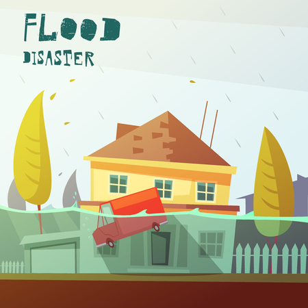 house flood: Color cartoon illustration flood disaster depicting underwater vehicle  and flooded house vector illustration Illustration