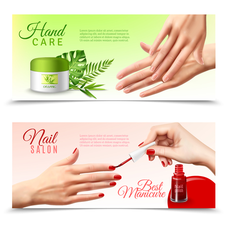 hand care: Professional hand care beauty salon 2 realistic banners with natural bio active moisturizing cream treatment isolated vector illustration Illustration