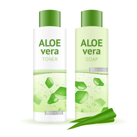 emulsion: Leaves and bottles with aloe vera water toner and soap on white background realistic vector illustration Illustration