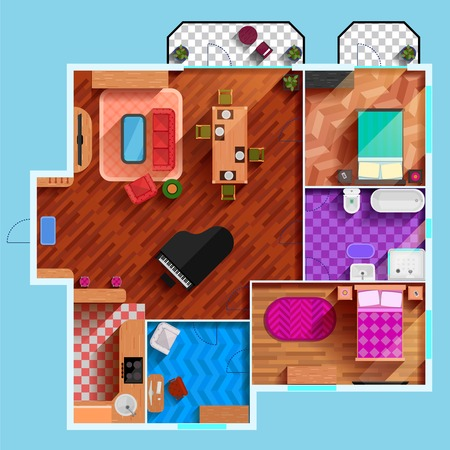 floorplan: Top view of the interior of typical apartment with furniture dining room bedrooms kitchen bathroom and balcony flat vector illustration