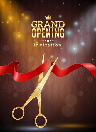 グランド オープン招待状の現実的な背景のリボンとはさみのベクトル イラスト
