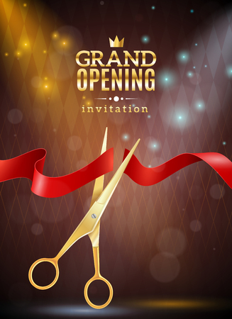 Grand opening invitation realistic background with ribbon and scissors vector illustration Ilustração