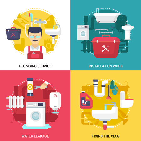 install: Clogged drains cleaning and installations plumbing service concept  4 flat icons square design abstract isolated vector illustration