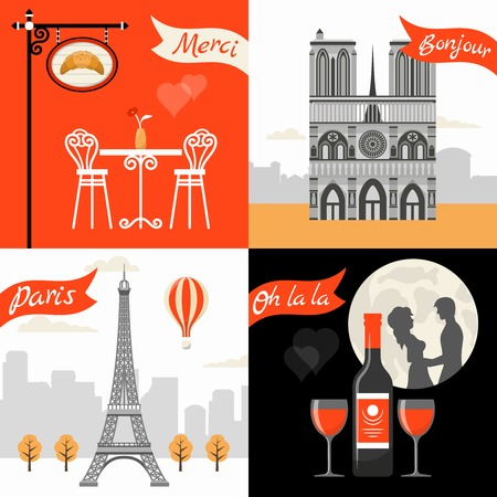 triumphal: France Paris Retro Style Concept with triumphal arch eiffel tower street cafe romantic appointment isolated vector illustration
