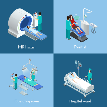 surgical operation: Medical equipment 4 isometric icons square composition with mri scan and hospital operation table abstract isolated vector illustration Illustration