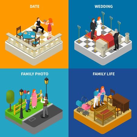 Family photos 4 isometric icons square composition poster with wedding ceremony and engagement abstract isolated vector illustration Imagens - 59152259