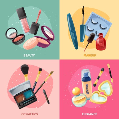 moisturizing: Facial cosmetics make-up beauty case accessories 4 realistic icons square with lipstick and eye shadows isolated vector illustration Illustration