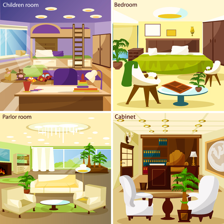 table set: Bright living room children room bedroom parlor room and cabinet interiors 2x2 design concept cartoon vector illustration Illustration