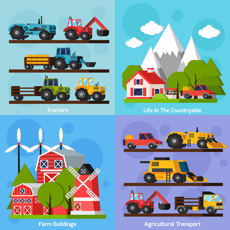 labranza: Granja iconos planos ortogonales 2x2 set que muestran la vida en el campo y tractores agr�colas de transporte y edificios agr�colas aislado ilustraci�n del vector