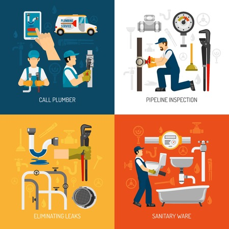 elimination: Plumbing service concept with call repairman pipeline inspection sanitary ware elimination of leaks isolated vector illustration