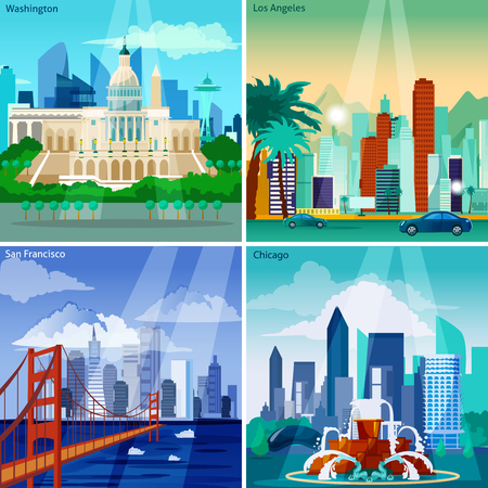 web design bridge: American Cityscapes Concept. USA And Sights Vector Illustration. US Cities Flat Icons Set. American Cities Design Set. US Cityscapes Isolated Elements. Illustration
