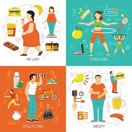 Obesitas en gezondheid concept met dikke mensen junk food dieet sportieve meisje atletische man geïsoleerde vector illustratie