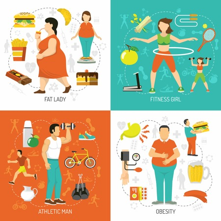 Obesity and health concept with fat people junk food diet sportive girl athletic man isolated vector illustration Illustration