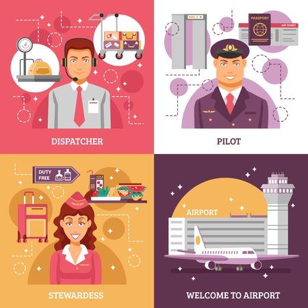 dispatcher: Airport design concept four square icons with descriptions of dispatcher pilot stewardess work vector illustration