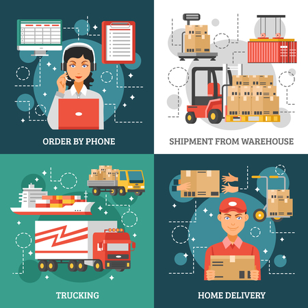 trucking: Logistics delivery design concept on four icon set and titles order by phone shipment from warehouse trucking and home delivery vector illustration Illustration