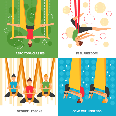 aero: Aero yoga design concept four square icon set with themes aero yoga classes feel freedom group lessons and come with friends vector illustration