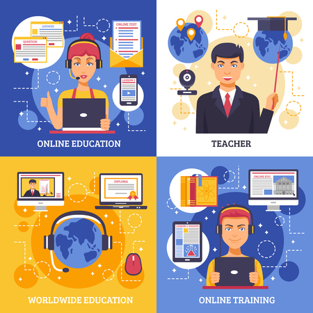 teacher and student: Online education training design concept four square icon set with descriptions of online education teacher worldwide education and online training vector illustration Illustration