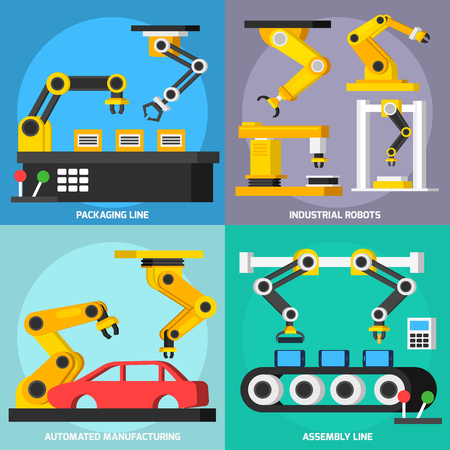 factory automation: Automation conveyor manufacturing robotic arms in process orthogonal 2x2 flat icons set with assembly and packaging lines isolated vector illustration