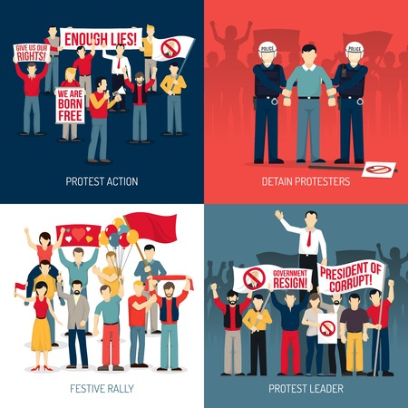 social movement: People at demonstration concept with protest action festive rally leader of social movement arrest isolated vector illustration