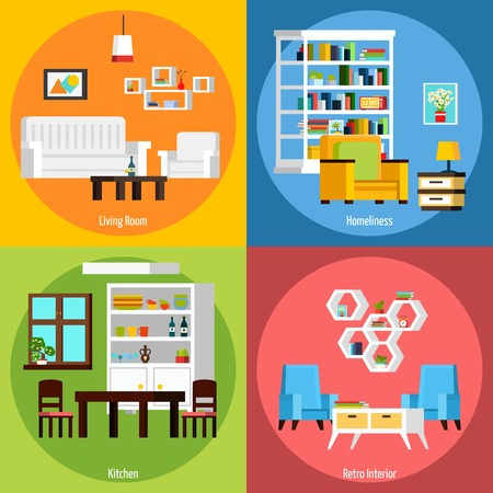 orthogonal: Interior of different rooms presenting living room homeliness kitchen and retro interior orthogonal 2x2 compositions vector illustration Illustration