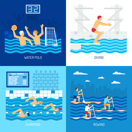 diving board: Water sport concept with polo swimming diving in pool canoe rowing at outdoor isolated vector illustration