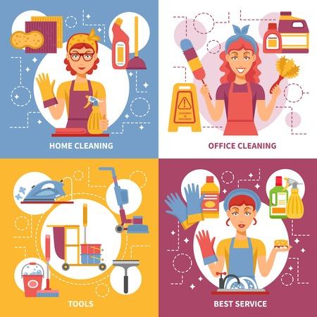 Quatre carrés de nettoyage icône de service situé sur plusieurs sujets tels que les outils de nettoyage de bureaux de nettoyage à domicile et la meilleure illustration de vecteur de service