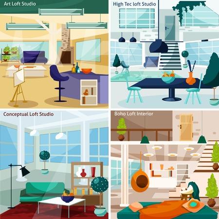 loft: Loft Studio Interior Concept. Loft Room Interior Vector Illustration. Loft Studio Flat Icons Set. Loft Studio Design Set.Loft Studio Isolated Elements. Illustration